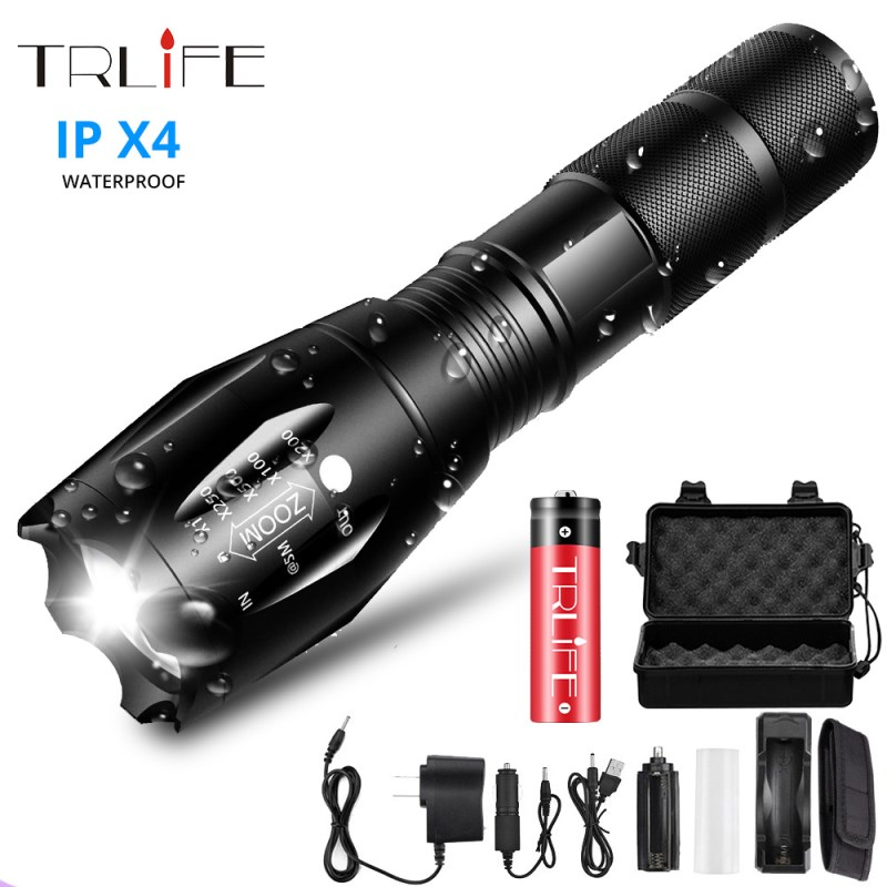 Ultra Bright LED Flashlight Torch T6/L2//V6 5 Lighting Modes Lanterna Zoom Powerful Bicycle Light Camping Light By 18650 Battery