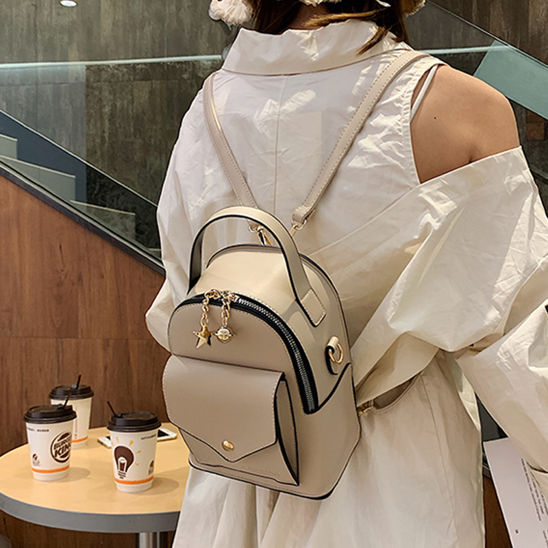 Fashion Women Backpack For School Bags Leather Shoulder Bag For College Teenger Girl Simple Lady Casual Daypacks Mochila Female