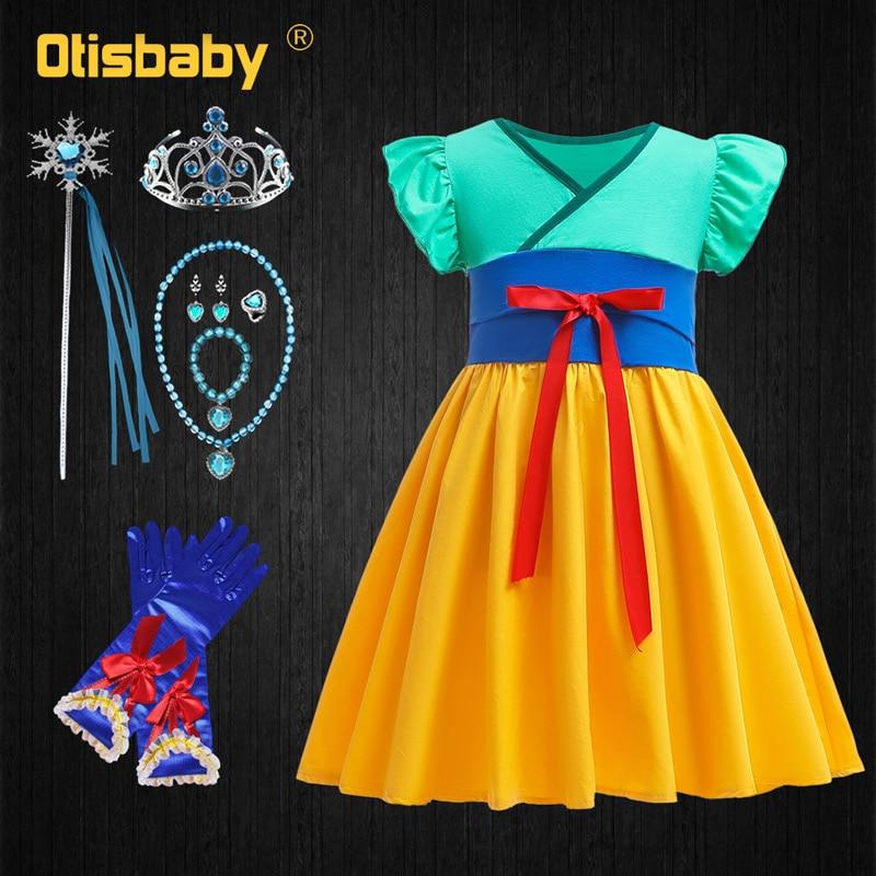 Christmas Toddler Girls Mulan Dress Fancy Up Halloween Costume Child Fairy Tiana Frock for Fantasia Infantil