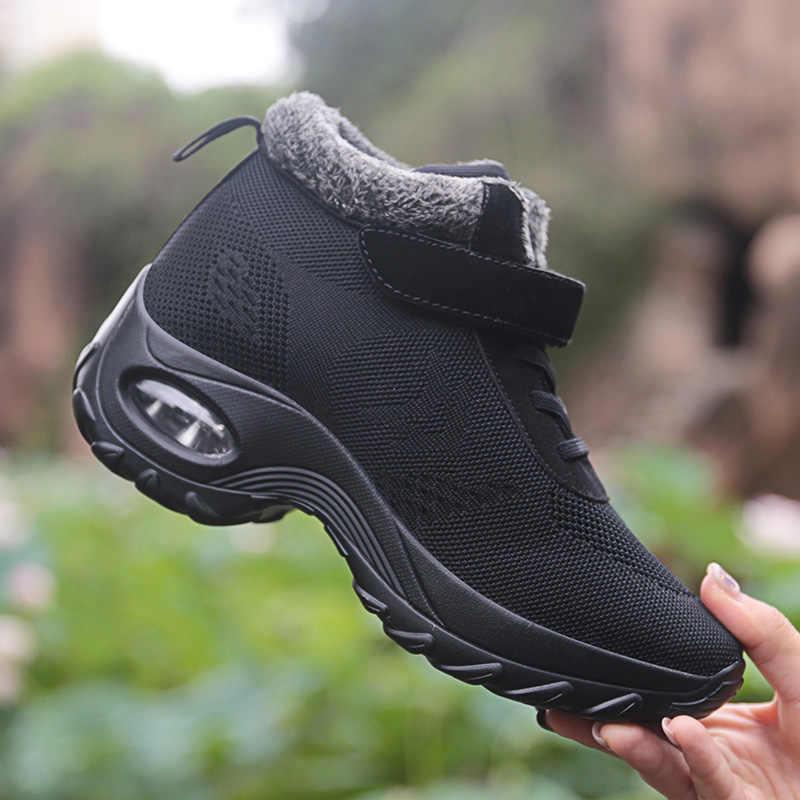 STQ 2020 kış kadın kar botları kadın ayakkabı sıcak itme platformu siyah yarım çizmeler kadın yüksek kama su geçirmez botlar 2002