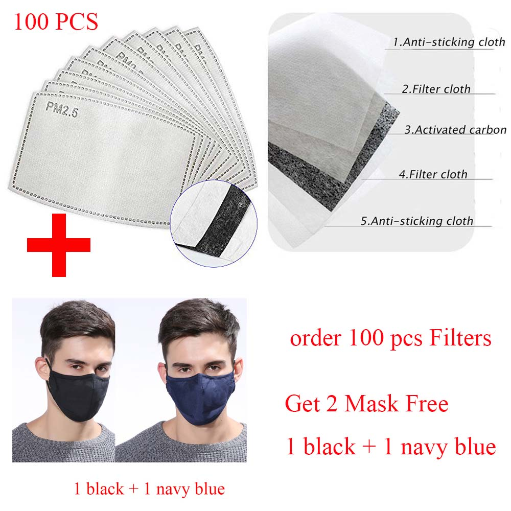 100Pcs/Lot 5 Layers Activated Carbon Filter PM2.5 Mask 2020 Protective Mouth Mask Insert Dust Face Mask(Buy Mask Gift Filter)