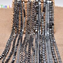 Натуральный Камень выдалбливают квадратное сердце черный гематит бусины плоские круглые свободные бусины для ювелирных изделий Изготовление браслета ожерелья DIY подарок