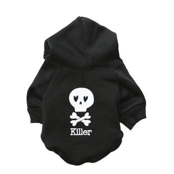 New Halloween Dogs Clothes Fleece Black Skull Pet Hooded Shirt Multicolor Killer Cat Dog Vest Pets Coat Dog T Shirt Pet Supplies