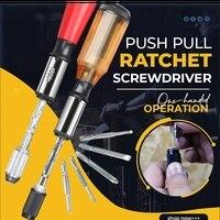 Push pull catraca chave de fenda 5 em 1 push pull catraca chave de fenda dobrável prático multifuncional hex interface