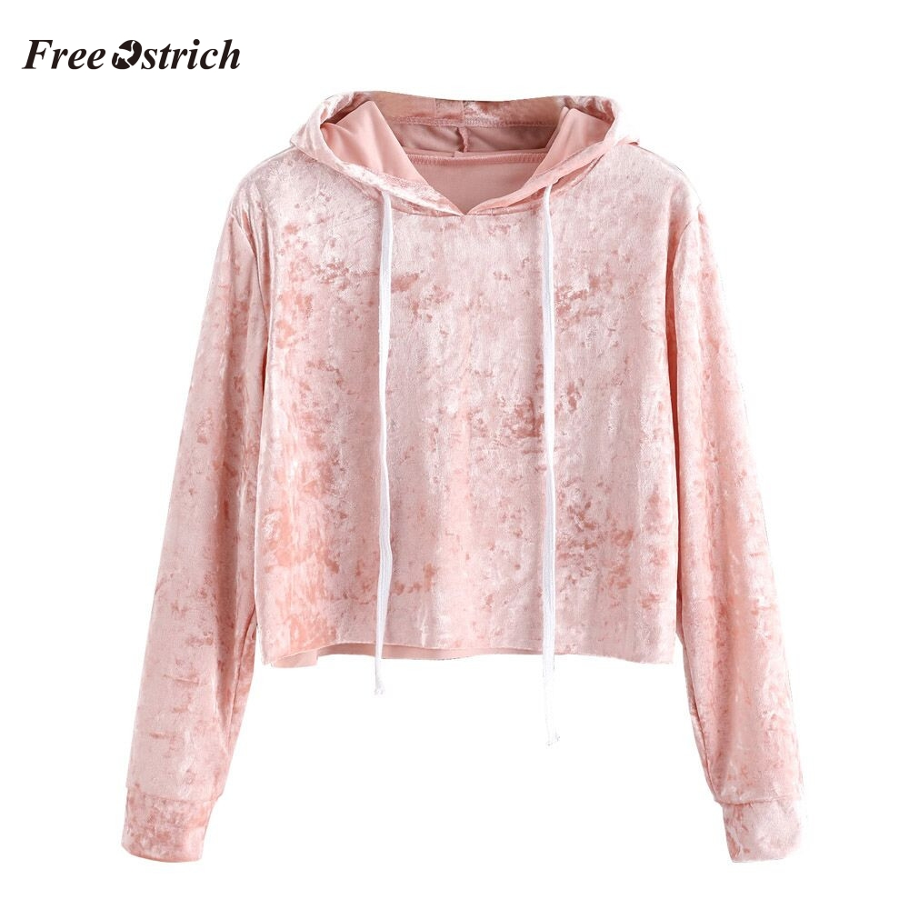 Free Ostrich Women Autumn Hoodied Sweatshirt Female Velvet Long Sleeve Pullover Streetwear Hoodies Ladies Solid Color Clothes #O