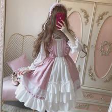 Alice In Wondeland Cute Women's Lolita OP Dress Flouncing Lace Trim Japanese Harajuku Long Sleeves Doll Dress Fairy Vestidos