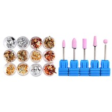 12Pcs Nail Art Foil Paper for UV GEL Acrylic Decoration Tips, 2 & 1 Set 5Pcs Quartz Nail Drill Kits Nail Drill Head Electric Nai(China)