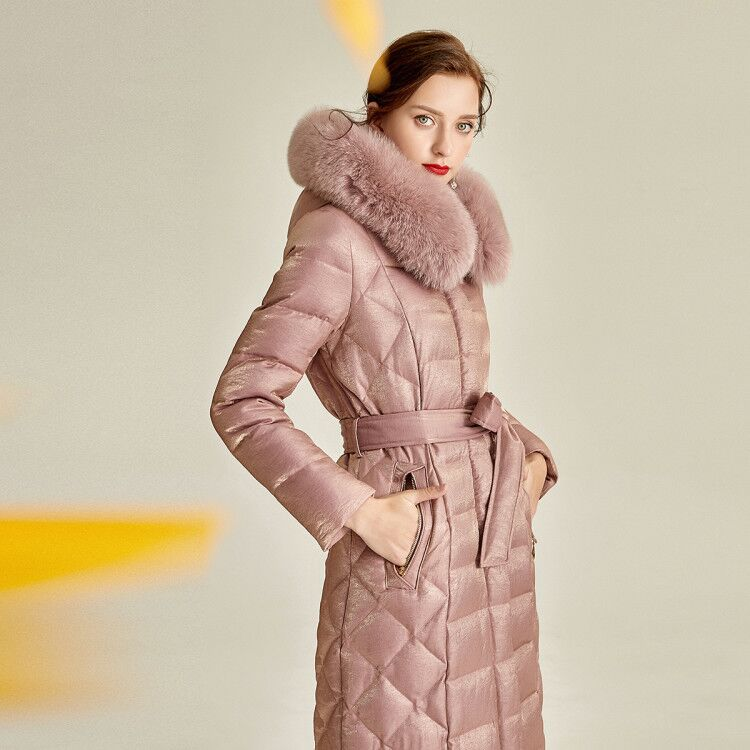 Large Real Fur Coat 2020 New Winter Coat Women Luxurious Argyle Pearl Warm White Duck Down Puffer Jacket Female Xlong Parka