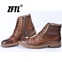 ZFTL New Men's Martins boots man causal boots genuine leather big size autumn winter warm man Bullock ankle boots  047 genuine leather boots women 2016 new arrival women ankle boots fashion spring autumn womens boots big size 34 41 free shipping