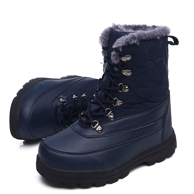 Мужские зимние ботинки; теплые мужские ботинки; высококачественные водонепроницаемые кожаные кроссовки; уличные мужские походные ботинки; рабочие ботинки - 3
