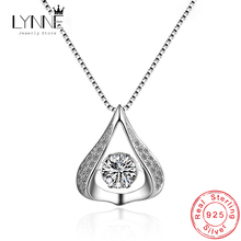 Hot Sale Fashion 925 Sterling Silver Water Drop Pendant Necklace Rotatable Dance Rhinestone Necklaces For Women Jewelry Gift banbu new arrival 925 sterling silver necklaces jewelry polishing process plate gold necklace women hot sale best gift for girls