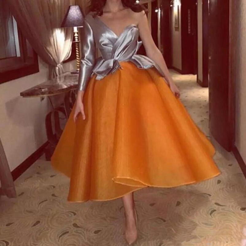 2019 robes de bal courtes gris Orange Sexy une épaule manches longues robes de soirée uniques saoudien arabe dubaï robe de soirée formelle