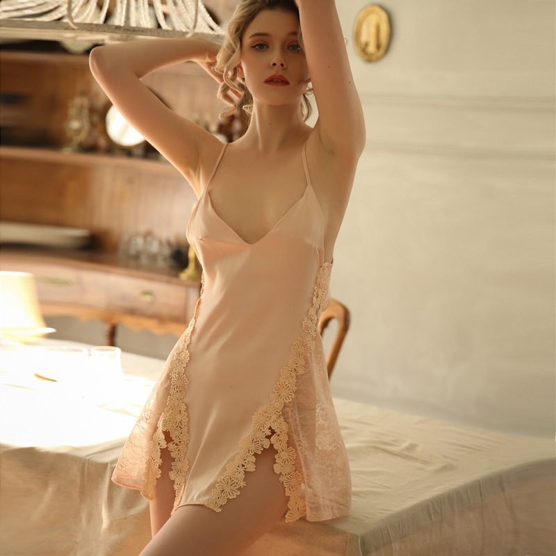 Young Girl Lace Sleepwear Woman Ice Silk Suspender Sleeping Dress Side Split Hot Lingerie Beautiful Back Tempting NightdressNightgowns & Sleepshirts   -