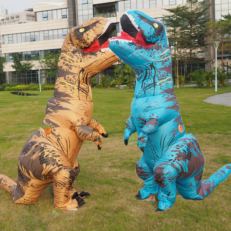 Anime Cospaly Men T REX Inflatable Dinosaur Costume Adult t-rex Mascot Costume Adultos Halloween Dinosaur Costume for Kids Women