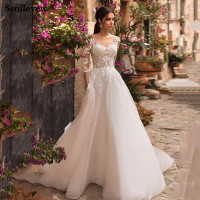 Smileven Wedding dress 3/4 Long Sleeve Boho Bride Dresses For Women A Line Ivory Lace Appliques Puff Tulle Wedding Gown 2020