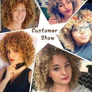 Image 5 - AISI ผมสังเคราะห์ผมสั้น Afro Kinky CURLY Wigs สำหรับผู้หญิงสีดำผมสูงเส้นใยผสมสีน้ำตาลและสีบลอนด์สี
