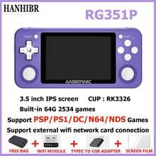Novo rg351p anbernic retro console de jogos rk3326 linux sistema pc escudo ps1 jogador jogo portátil bolso rg350 handheld game console
