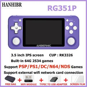 NEW RG351P ANBERNIC Retro Game Console RK3326 Linux System PC Shell PS1 Game Player Portable Pocket RG351 Handheld Game Console