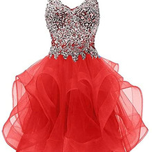 Homecoming-Dress Party-Gowns Graduation Formal ANGELSBRIDEP Sweetheart Crystal Spaghetti-Straps