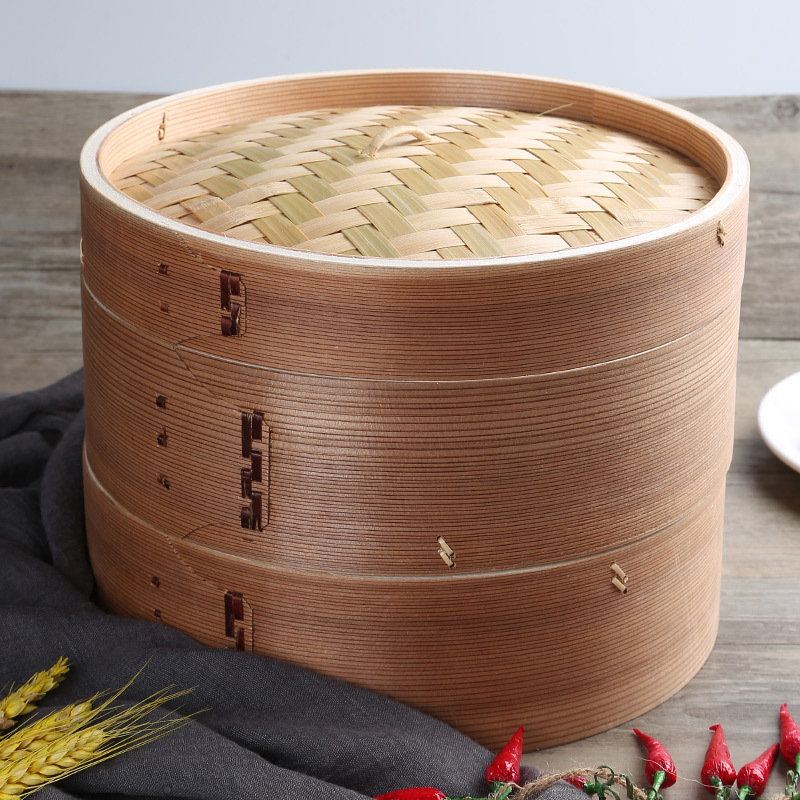 Manufacturers Wholesale Cryptomeria Fortunei Steamer Natural Non-Paint Heightening Thick Intensify Bamboo Steamer