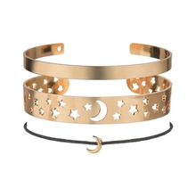 Hello Miss Fashion Pop Bracelet Star Moon Natural Retro Openwork Wax Rope Three-layer Female Holiday Gift