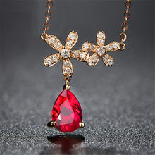 Small Emerald & Ruby gemstones pendant necklace for women red crystal Rose gold chain choker diamonds luxury jewelry bijou gift(China)