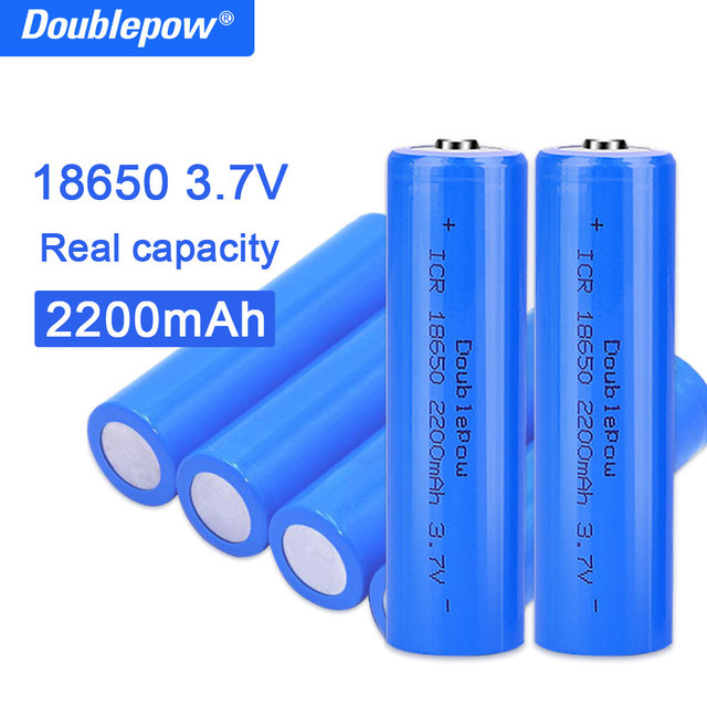 True capacity 100% new original Doublepow 18650 battery 3.7v 2200mah 18650 rechargeable lithium battery for flashlight batteries 1