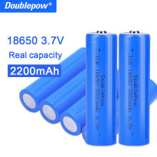 True capacity 100% new original Doublepow 18650 battery 3.7v 2200mah 18650 rechargeable lithium battery for flashlight batteries