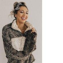 Women Winter Thick Wool Harajuku Patchwork Hoodies Turndown Collar Zipper Christmas Sweatshirt Sueter Feminino Ey*
