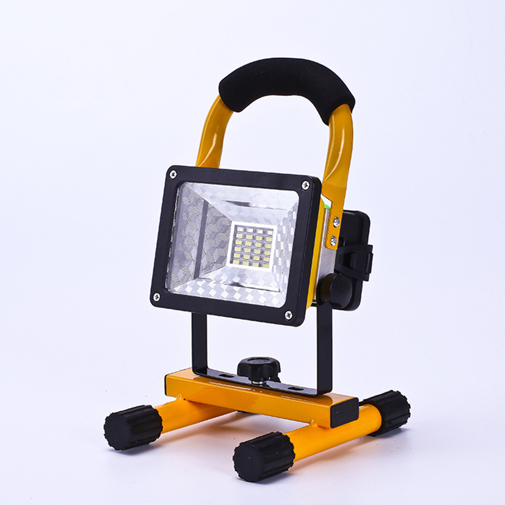 Portable 110V LED Flood Lawn Light Strong Light Searchlight Construction Site Move Miner's Lamp Red and Blue Flash Warning Light