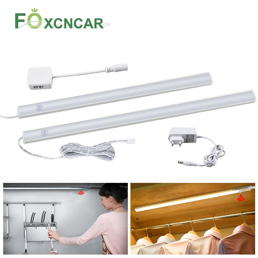 DC 12V LED Light Closet Bedroom PIR Motion Sensor Under Kitchen Cabinet Lights LED Motion Sensor Wardrobe Night Light Wall Lamp