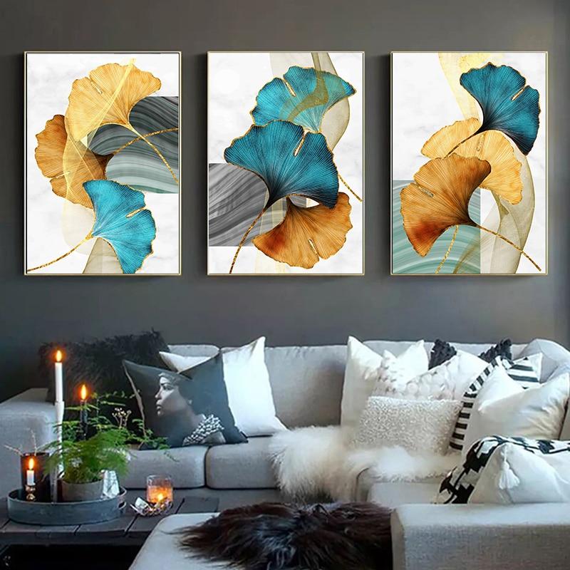 Синий, зеленый, желтый, золотой абстрактный постер с листьями растений, скандинавский холст с принтом, Настенная картина современного искус...