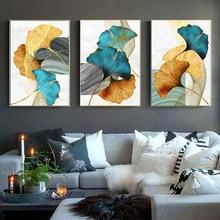 Pintura de arte para parede, quadro de arte de parede azul, verde, amarelo, planta, dourado, abstrato, poster nórdico, decoração de sala de estar