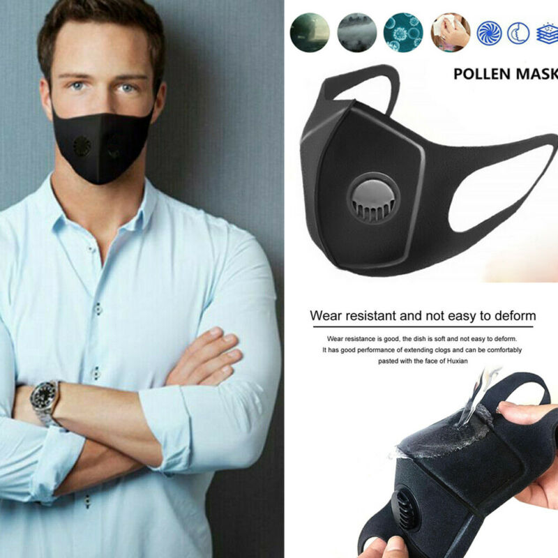 Reusable Air Purifying Face Mask Anti-fog PM2.5 Respirator Unisex Washable Activated Cotton Face Mask With Carbon Filter