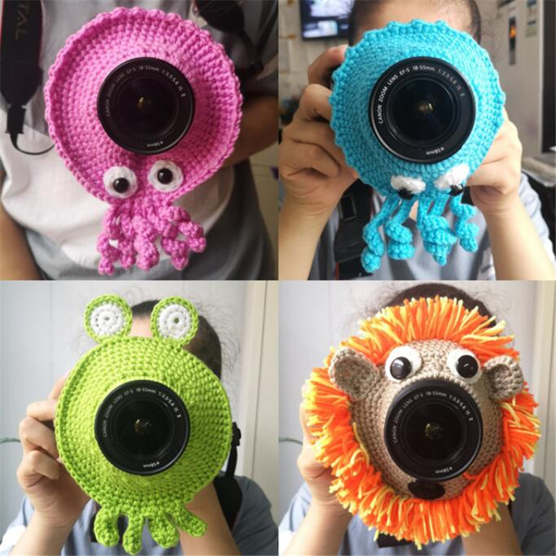Animal Camera Buddy Lens Accessory Toys For Kids Photography Hand Knitted Camera Len Decorative Ring Creatures Posing Photo Prop