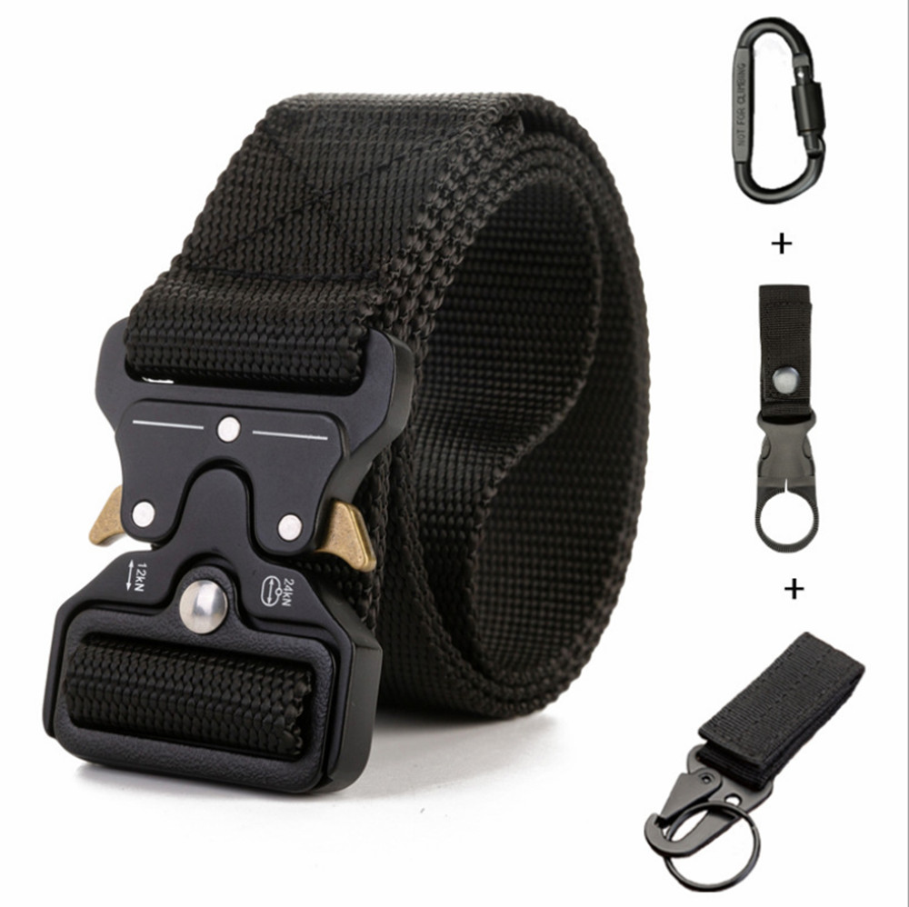 New Tactical Belt Military High Quality Nylon Men's Training Belt Metal Multifunctional Buckle Outdoor Sports Hook