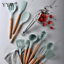 11pcs/lot Cooking Tools Set Premium Silicone Kitchen Cooking Utensils Set With Storage Box Turner Tongs Spatula Soup Spoon 5 8 9 10 11pcs kitchen tools cooking tools set natural wooden premium silicone turner tongs spatula soup spoon heat resistant