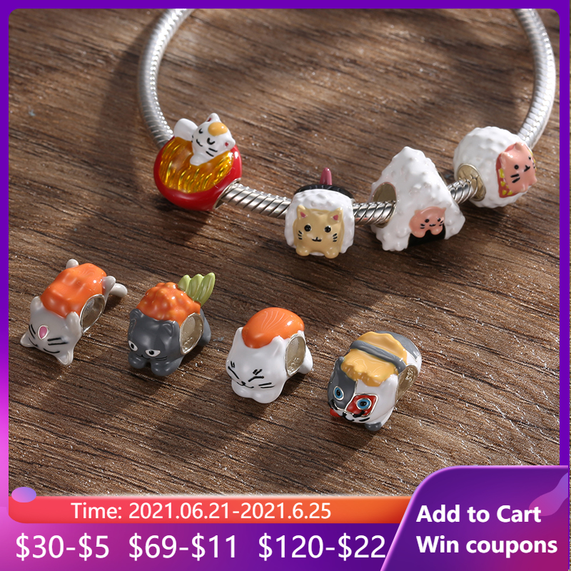 Delicious Lovely Seafood Sushi Cat Beads for Original Women Bracelet Bangle Animal 925 Silver Charms DIY Bracelet Jewelry Making