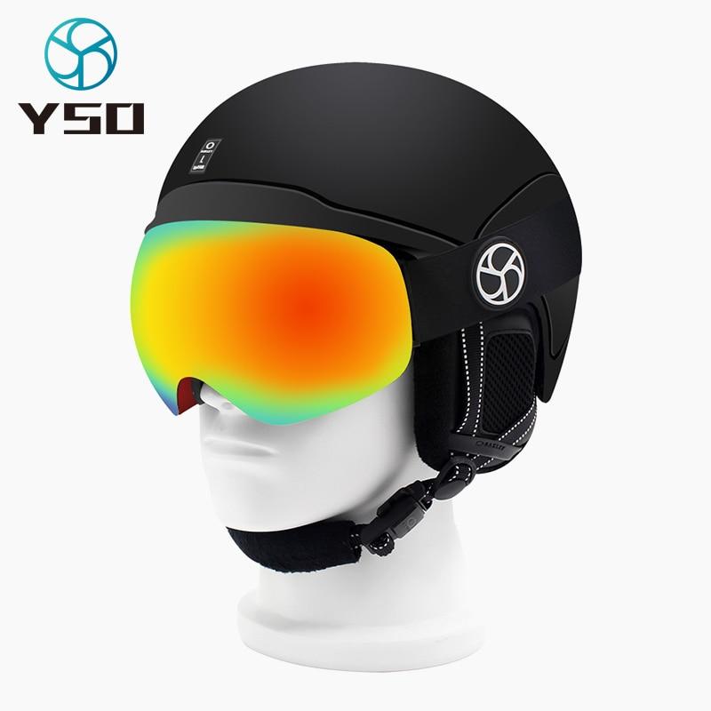 YSO 2020 Brand Ski Goggles Double Layers UV400 Anti-fog Big Ski Mask Glasses Skiing Snow Men Women Fashion Snowboard Goggles