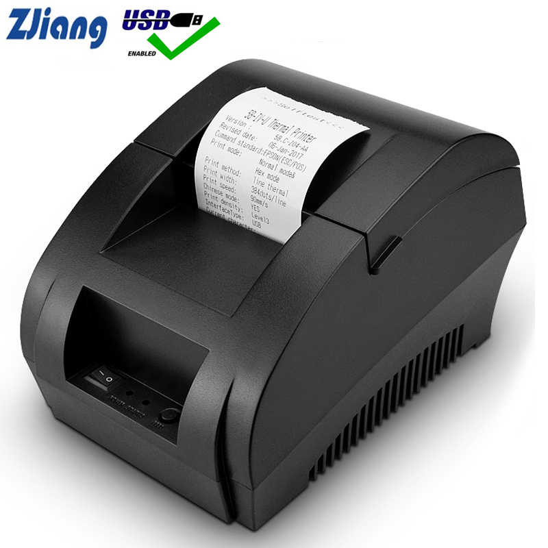 Zjiang POS Thermal Printer Mini 58 Mm USB POS Printer Penerimaan Resaurant Supermarket Toko Bill Check Mesin Uni Eropa US plug