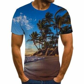Natural wind series men's T-shirt, three-dimensional pattern T-shirt, Harajuku clothing, round neck summer fashion shirt, street stripe pattern round neck stitching design t shirt in black