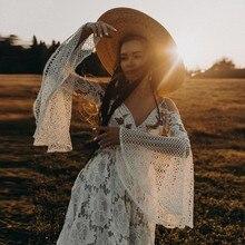 UMK בציר התלקחות שרוול Boho חתונה שמלת 2020 תחרה V צוואר ללא משענת Vestido דה Noiva סקסי אונליין שמלות כלה