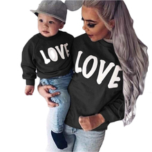 2019 Fashion Winter Mother and Daughter Clothes Long Sleeve Round Neck Letter LOVE Parent-child Sweater Matching Family Outfits