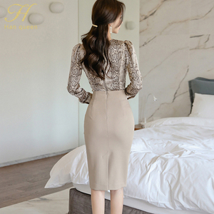 Image 5 - H Han Queen robe Sexy pour femmes, ensemble de 2 pièces pour le travail OL, Blouses et fourreau à col pilon, motif serpent, automne 2019