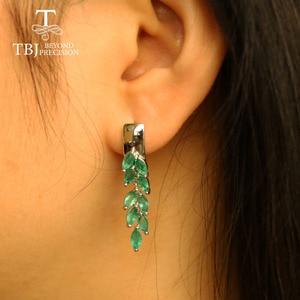 Image 3 - ロングナチュラルエメラルドイヤリング貴石宝石グリーンザンビアエメラルドの宝石 925 スターリングシルバー女性のための最高のギフト