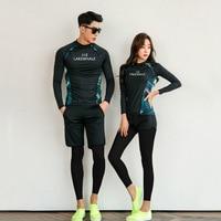 Couple Rash Guards Swimsuit Bikini Suit Sport Women Bathing Suits 2019 Tankini Surf Diving Shirt Swimming Clothes Swim Leggings