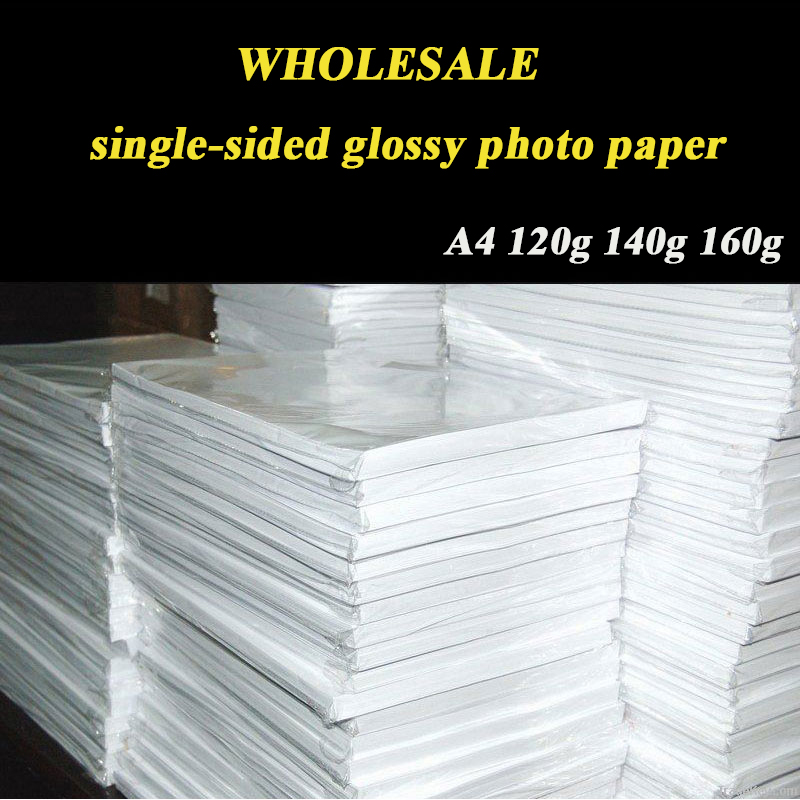 Wholesale A4 100 Sheets High Glossy Photo Paper Single-sided Coated Paper For Inkjet Printer 120g 140g 160g