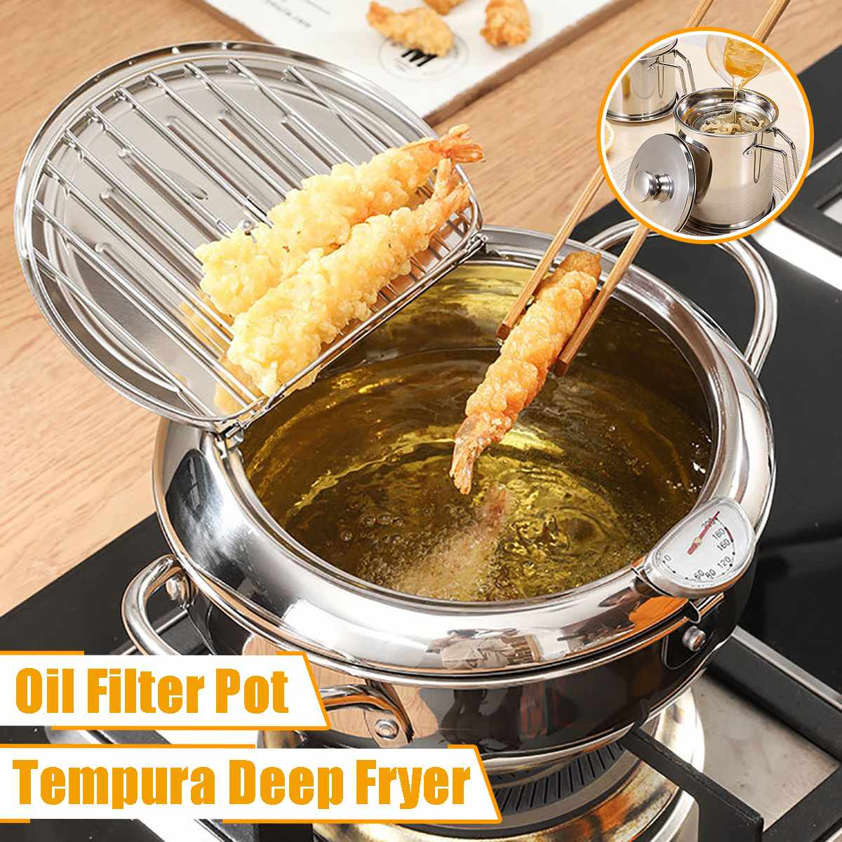 Deep-Frying-Pot Fryer-Pan Tempura A-Thermometer Japanese Kitchen 304-Stainless-Steel
