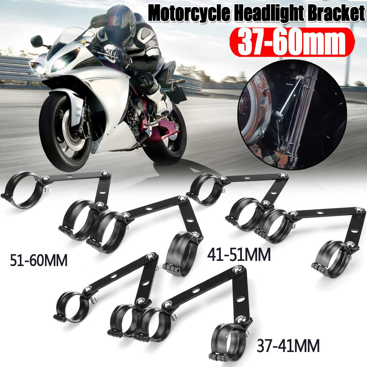 37-41mm 41-51mm 51-61mm Universal Motorcycle Headlight Bracket Mounting Adjustable Fork Mount Clamp Black HeadLamp Holder