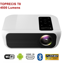 TOPRECIS T8 1080p Projector Full HD 4500 Lumens Android WIFI bluetooth 2G 16G Amlogic S905 Home Theater projector Media Player